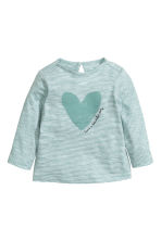 Long-sleeved printed top - Dusty green/Striped - Kids | H&M 1